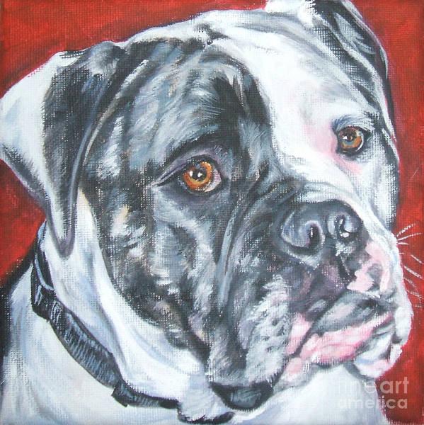 Bully Painting - American Bulldog by Lee Ann Shepard