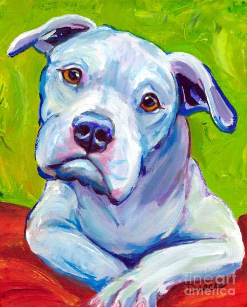 Bully Painting - American Bulldog On Elbows by Dottie Dracos