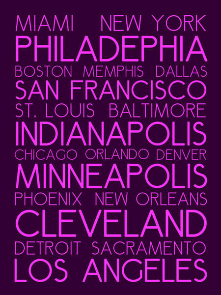 Painting - American Cities In Bus Roll Destination Map Style Poster by Celestial Images