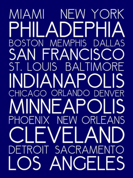 Digital Art - American Cities In Bus Roll Destination Map Style Poster - Blue by Celestial Images