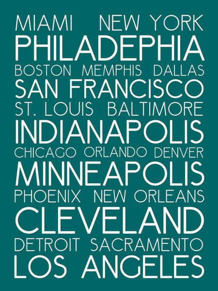 Painting - American Cities In Bus Roll Destination Map Style Poster - Green by Celestial Images