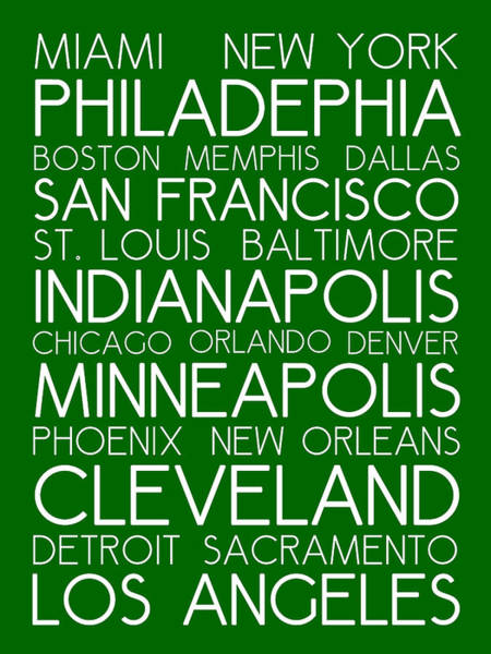 Digital Art - American Cities In Bus Roll Destination Map Style Poster - Green  by Celestial Images