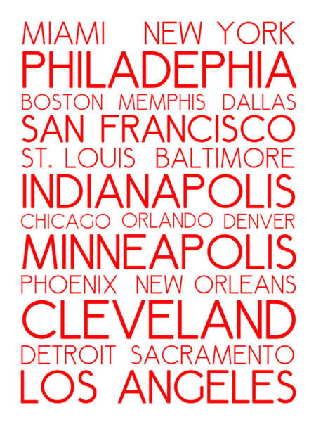 Digital Art - American Cities In Bus Roll Destination Map Style Poster - White-red by Celestial Images