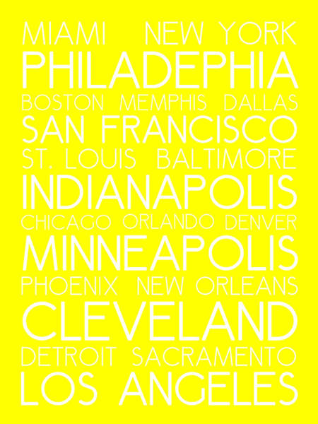 Digital Art - American Cities In Bus Roll Destination Map Style Poster - Yellow by Celestial Images