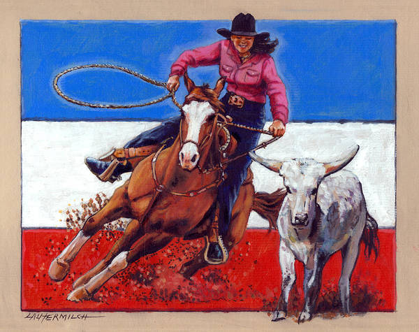 Wall Art - Painting - American Cowgirl by John Lautermilch