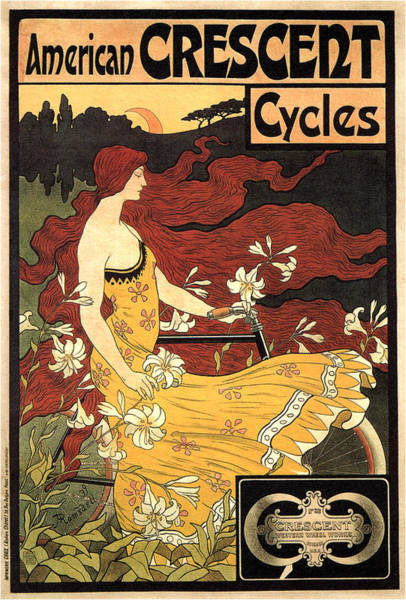 Wall Art - Mixed Media - American Crescent Cycles - Vintage Advertising Poster by Studio Grafiikka