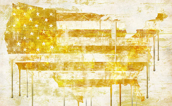 Gold Painting - American Flag Map by Mindy Sommers