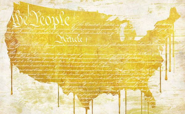 Gold Painting - Gold American Map Constitution by Mindy Sommers