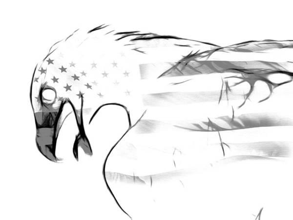 Contour Digital Art - American Eagle Black And White by Melanie Viola