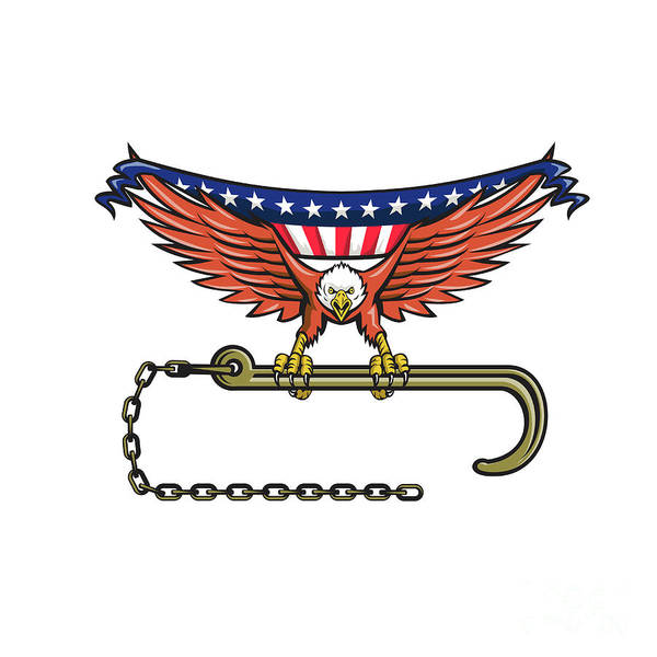 Wall Art - Digital Art - American Eagle Clutching Towing J Hook Usa Flag Retro by Aloysius Patrimonio