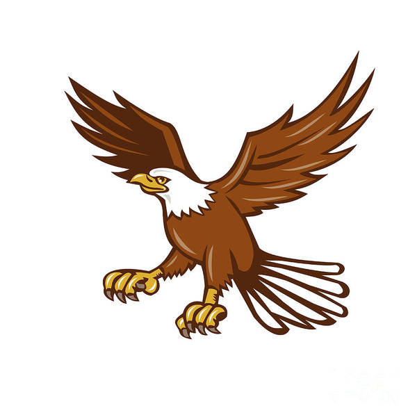 Wall Art - Digital Art - American Eagle Swooping Isolated Retro by Aloysius Patrimonio