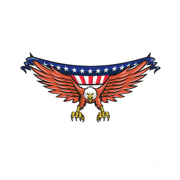 Wall Art - Digital Art - American Eagle Swooping Usa Flag Retro by Aloysius Patrimonio