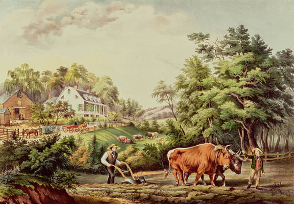 Ploughing Painting - American Farm Scenes by Currier and Ives