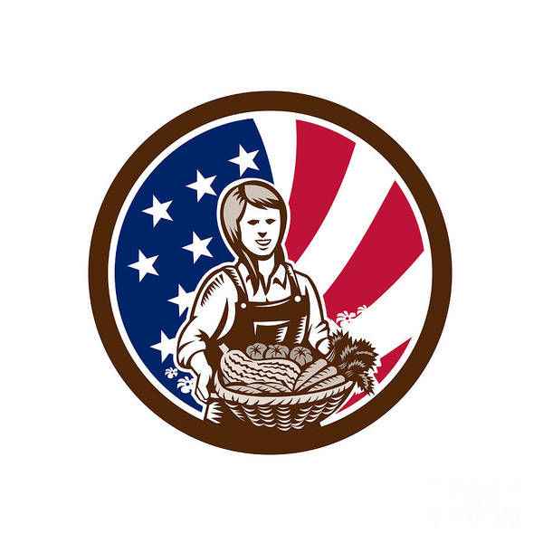 Wall Art - Digital Art - American Female Organic Farmer Usa Flag Icon  by Aloysius Patrimonio