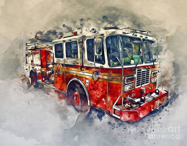 Fire Department Photograph - American Fire Truck by Ian Mitchell