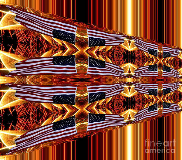 Photograph - American Flag And Fireworks Horizontal Streaks Abstract by Rose Santuci-Sofranko