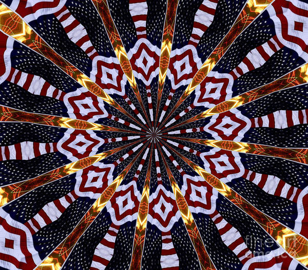 Photograph - American Flag And Fireworks Kaleidoscope Abstract 2 by Rose Santuci-Sofranko