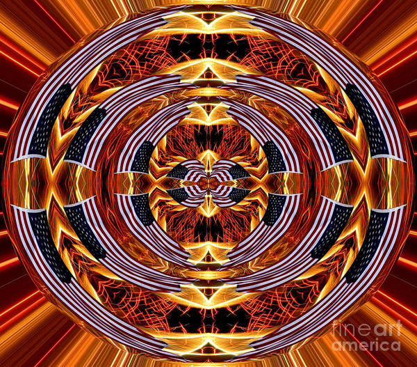Photograph - American Flag And Fireworks Polar Coordinates Abstract by Rose Santuci-Sofranko