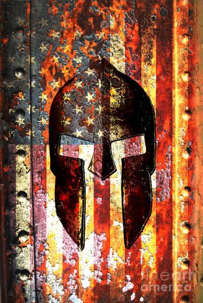American Flag And Spartan Helmet On Rusted Metal Door - Molon Labe Art Print