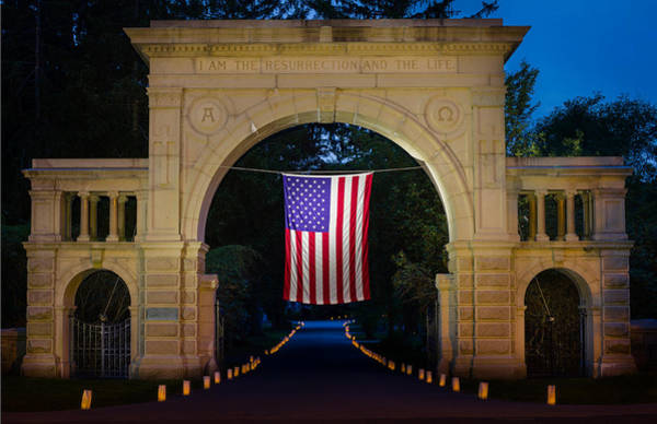 Photograph - American Flag At Cemetery Gates - Mystic Ct by Kirkodd Photography Of New England