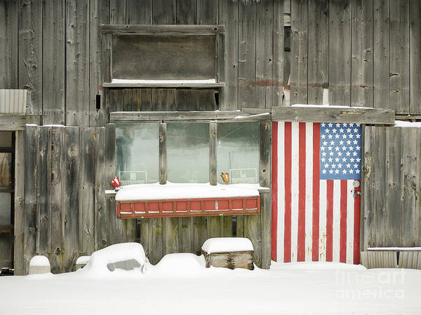 Wall Art - Photograph - American Flag Barn Lebanon New Hampshire by Edward Fielding