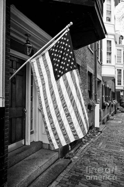 Wall Art - Photograph - american flag flying outside townhouse in historic beacon hill Boston USA by Joe Fox