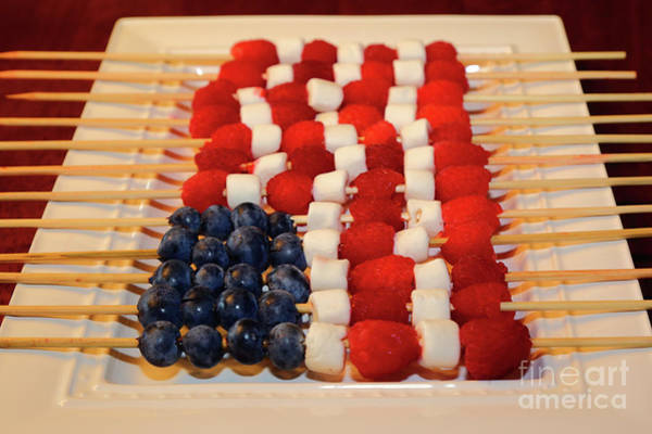 Photograph - American Flag In Blueberries And Raspberries by James Brunker