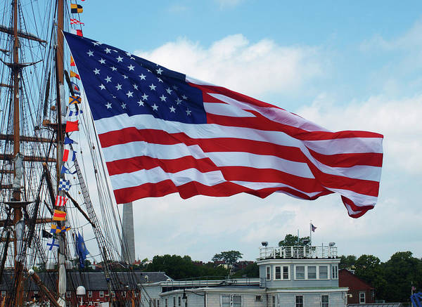 Photograph - American Flag In Boston Harbor by Mary Capriole