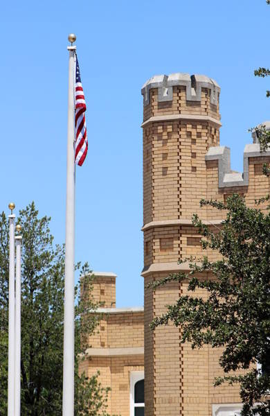 Photograph - American Flag In Foreground Of Castle by Colleen Cornelius