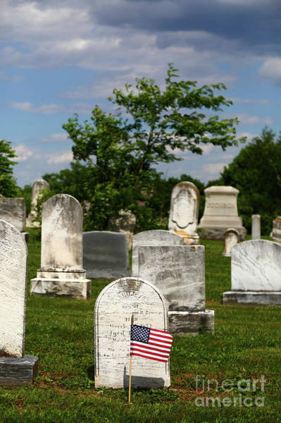 Photograph - American Flag In Historic Uniontown Cemetery Maryland by James Brunker