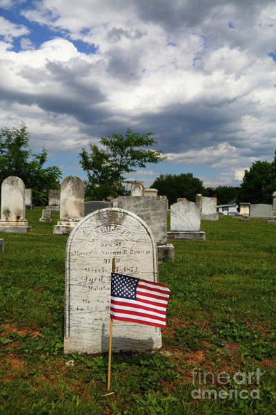 Photograph - American Flag In Uniontown Cemetery Maryland by James Brunker