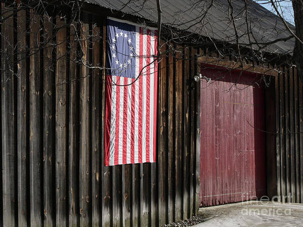 Wall Art - Photograph - American Flag On A Barn by Edward Fielding
