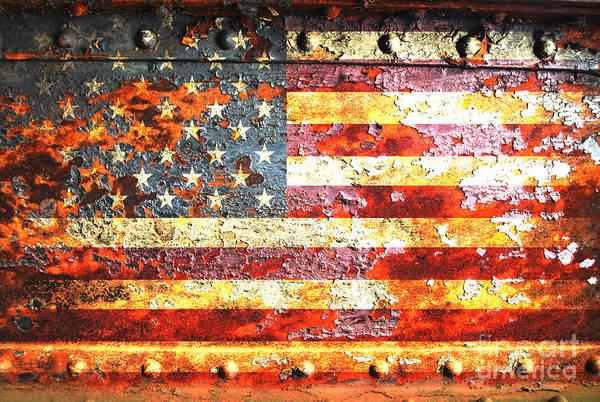 American Flag On Rusted Riveted Metal Door Art Print