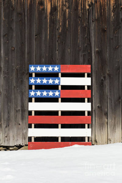 Pallet Wall Art - Photograph - American Flag Painted On A Pallet by Edward Fielding