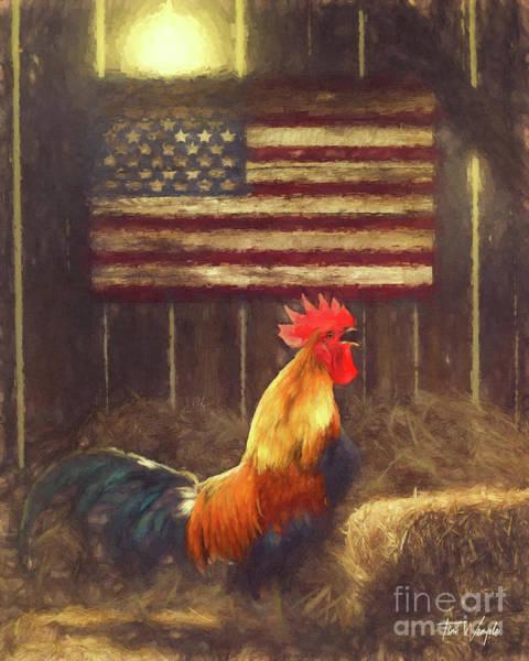 Digital Art - American Flag Rooster by Tim Wemple