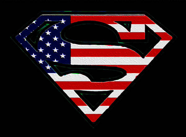 Man Of Steel Wall Art - Photograph - American Flag Superman Shield by Bill Cannon