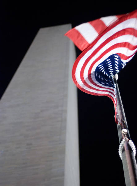 Wall Art - Photograph - American Flag Sways In The Wind At Washington Monument In Dc by Neil Stern