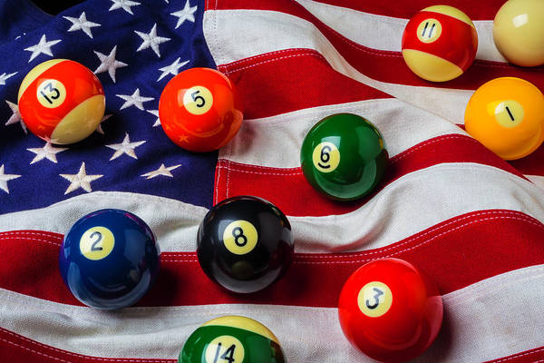 Pool Ball Photograph - American Flag With Game Pool Balls by Garry Gay