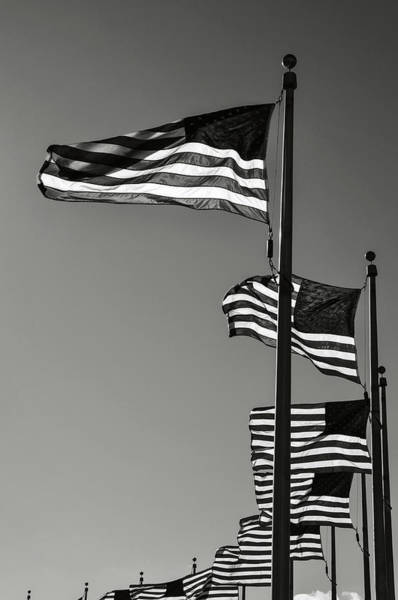 Photograph - American Flags Blowing In The Wind At Washington Monument by Brandon Bourdages