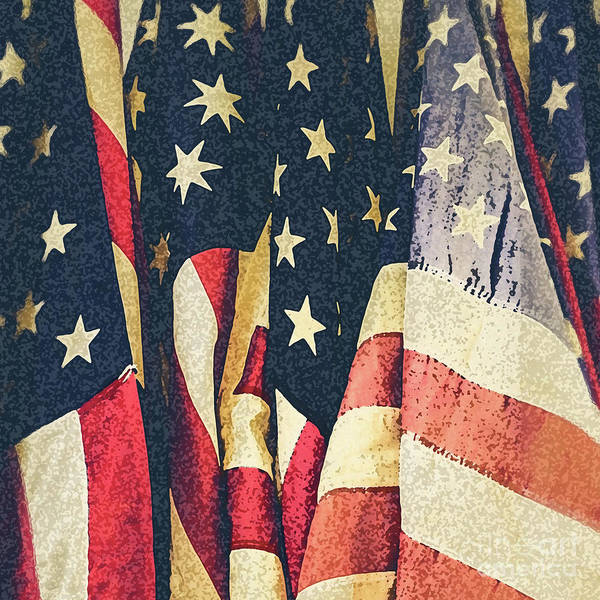 Wall Art - Photograph - American Flags Painted Square Format by Edward Fielding