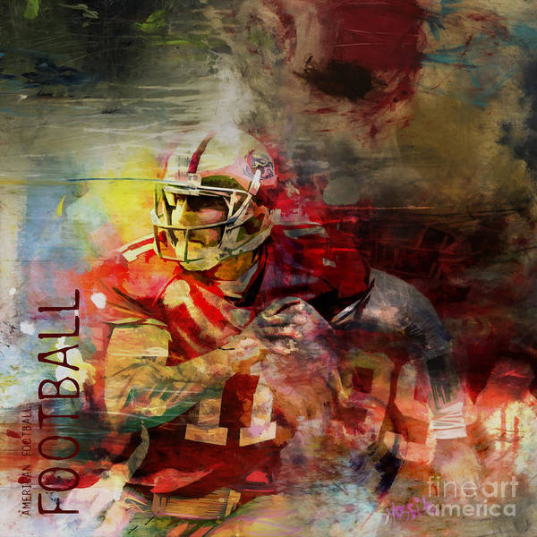 Wall Art - Painting - American Football 091 by Gull G