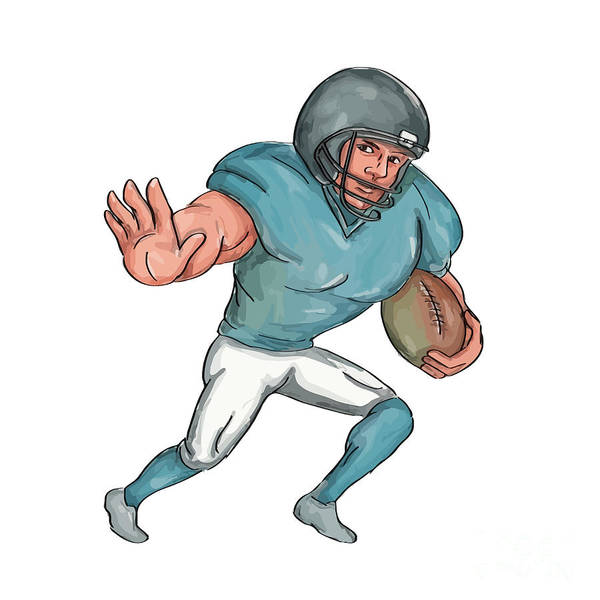 Sportsman Digital Art - American Football Player Stiff Arm  Caricature by Aloysius Patrimonio