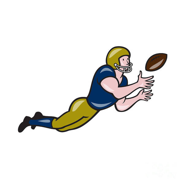 Wall Art - Digital Art - American Football Receiver Catching Ball Cartoon by Aloysius Patrimonio