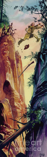 Wall Art - Painting - American Frontiersman Being Chased  by Ron Embleton