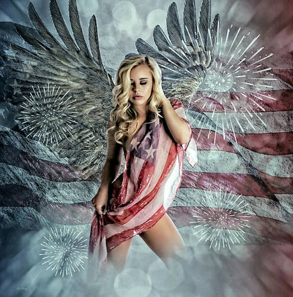Bald Mixed Media - American Girl by G Berry