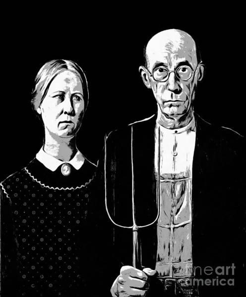 Wall Art - Digital Art - American Gothic Graphic Grant Wood Black White Tee by Edward Fielding