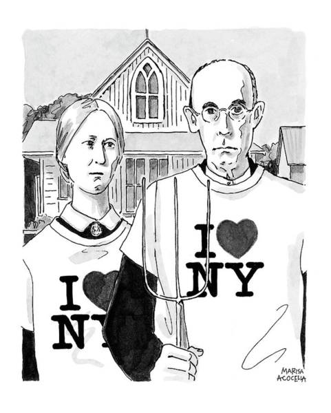 Attack Drawing - American Gothic by Marisa Acocella Marchetto
