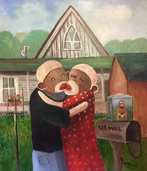 Wall Art - Painting - American Gothic The Monkey Lisa And The Holler by Randy Burns