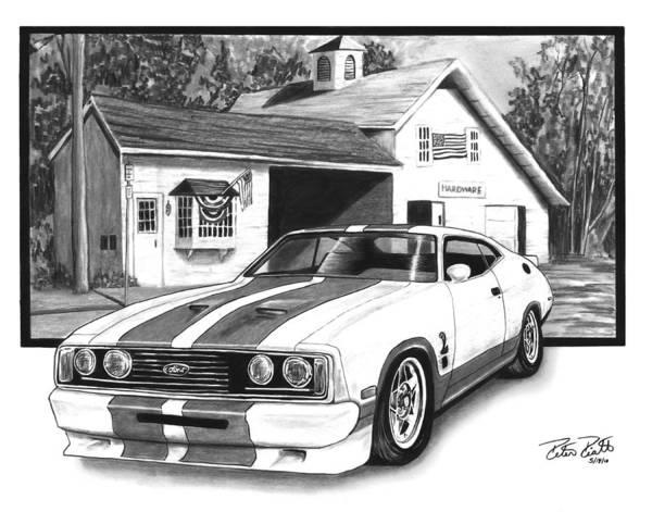 American Car Drawing - American Heartland by Peter Piatt