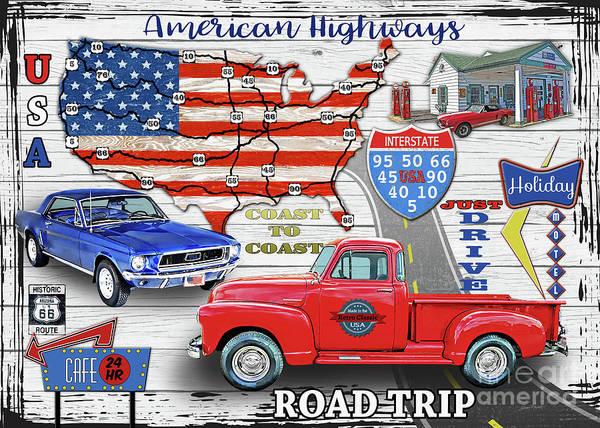 Wall Art - Digital Art - American Highways-coast To Coast by Jean Plout